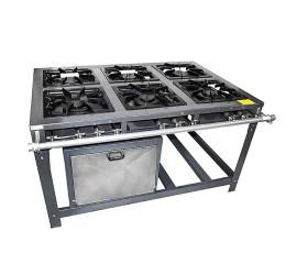 Fogão Industrial 6 Bocas 40x40 Com Forno Baixa Pressão 3 QS / 3 QD