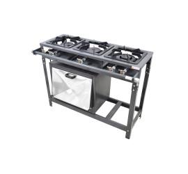 Fogão Industrial Omega 3 Boca 30x30 Com Forno 48 Litros Baixa Pressão