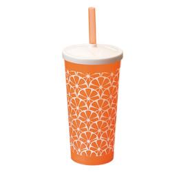 Copo Plástico Com Canudo Modelo Frutas Laranja