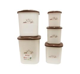 Conjunto Porta Mantimentos Decorado com 5 Potes Quadrados