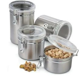 Conjunto de Potes Aço Inox Hermético 4 Peças