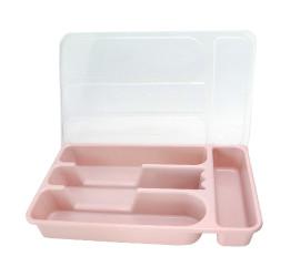 Porta talher de gaveta porta talher plástico com tampa e 4 divisórias
