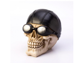 Caveira Motoqueiro Crânio Decorativo Resinado D0241