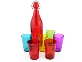 Conjunto Garrafa de vidro 1 litro e Jogo de copos 6 peças 200ml
