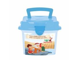 Mini Box Lancheira Porta Objetos Turma Do Salminho Azul 1 Lt
