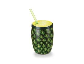 Copo abacaxi 65ml com canudo copo bojudo plástico