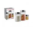 Conjunto 3 Potes de Vidro Redondo com Tampa Inox - Euro