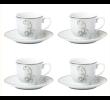 Jogo de Chá Sonata 8 peças Xícara e Pires de Porcelana